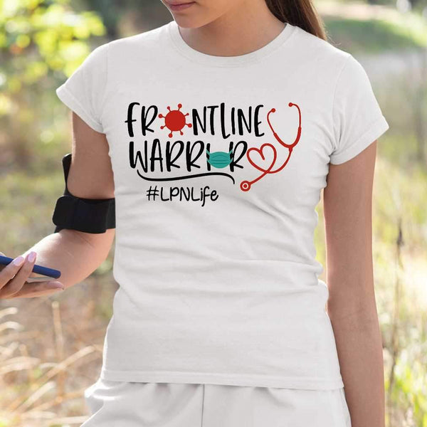 Stethoscope Heart Frontline Warrior Mask Lpn Life T-shirt S By AllezyShirt