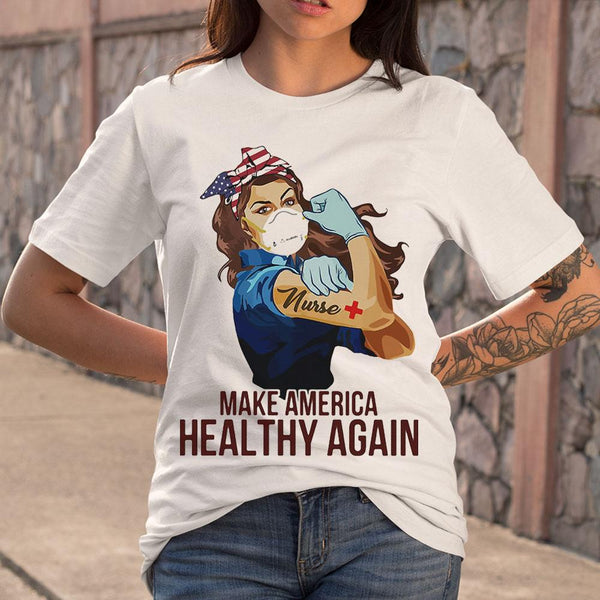 Strong Woman Tattoos Nurse Make America Healthy Again Covid-19 T-shirt S By AllezyShirt