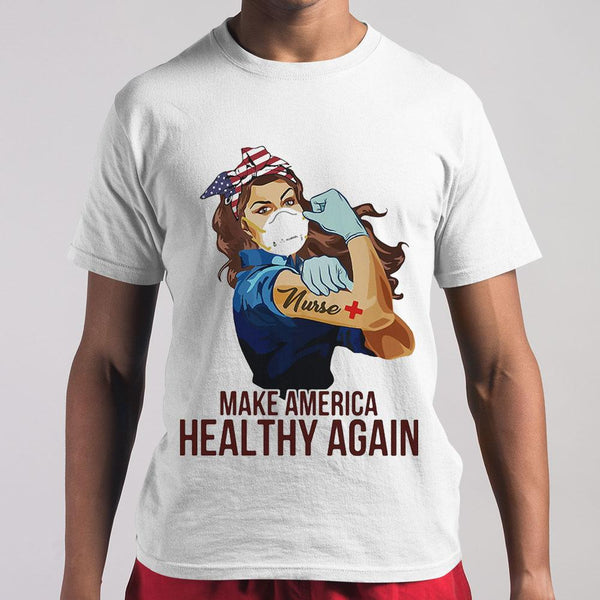 Strong Woman Tattoos Nurse Make America Healthy Again Covid-19 T-shirt M By AllezyShirt