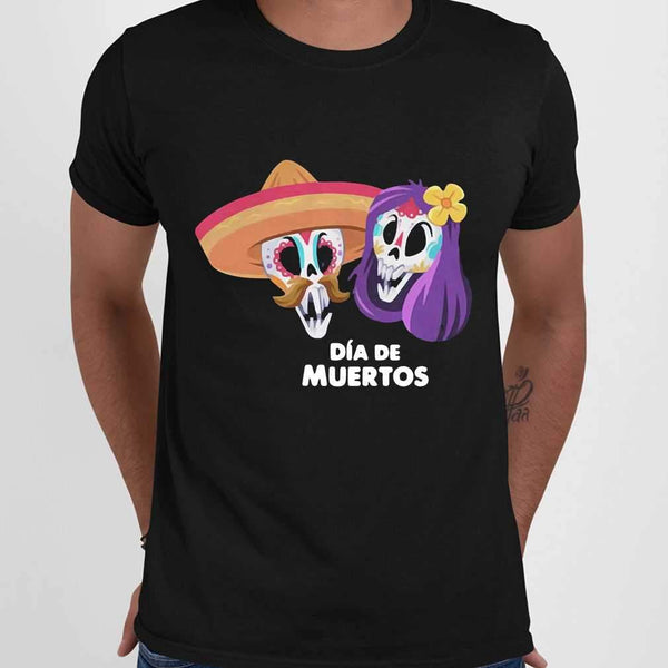 Sugar Skull Couple Day Of The Dead Dia De Muertos T-shirt M By AllezyShirt