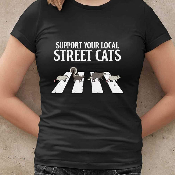 Support Your Local Street Cats Parody Racoon Skunk Opossum T-shirt M By AllezyShirt
