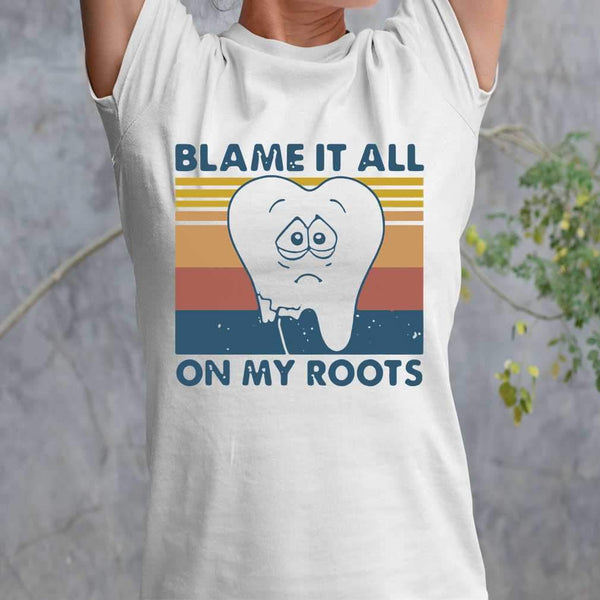 Tooth Blame It All On My Roots Vintage Retro T-shirt M By AllezyShirt