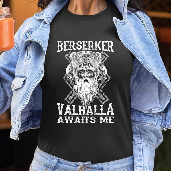 Vikings Berserker Valhalla Awaits Me T-shirt S By AllezyShirt