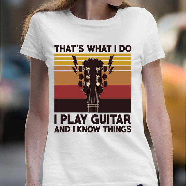 Vintage That's What I Do I Play Guitar And I Know Things T-shirt M By AllezyShirt