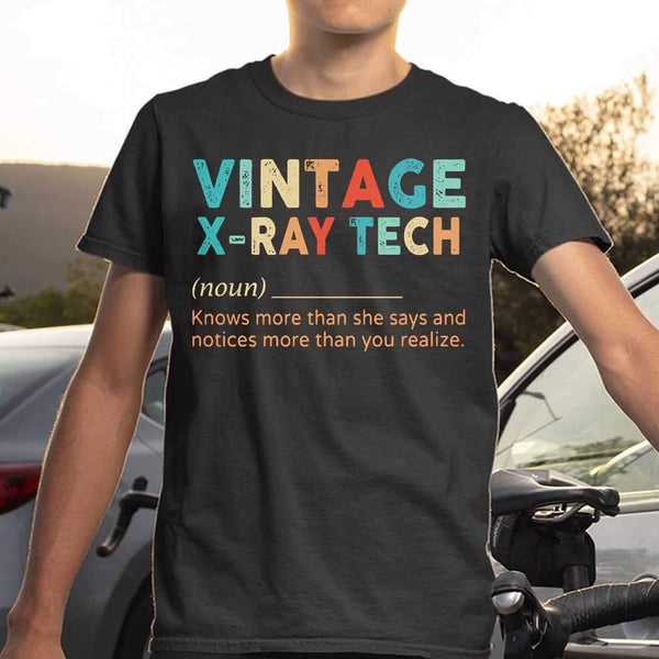 Vintage X-Ray Tech Noun Knows More Than He Says And Notices More Than You Realize T-shirt S By AllezyShirt
