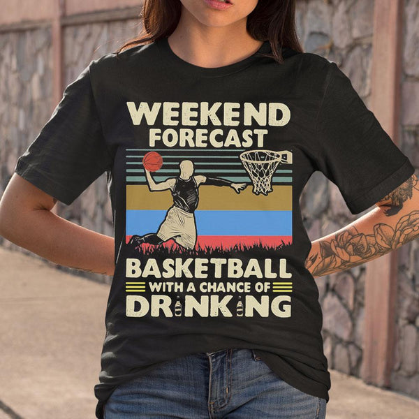 Weekend Forecast Basketball With A Chance Of Drinking Beer Vintage T-shirt M By AllezyShirt