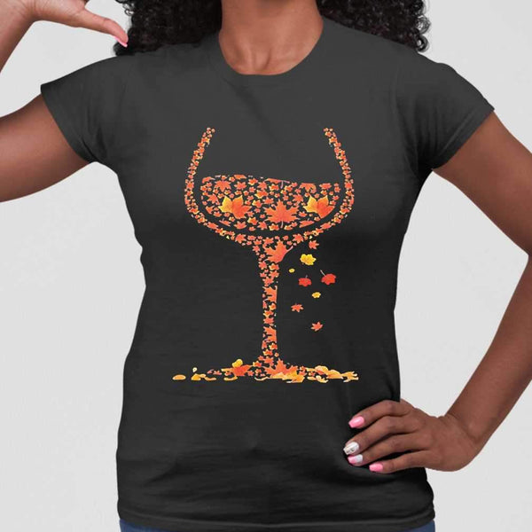 Wine Fall Autumn Leaf T-shirt S By AllezyShirt