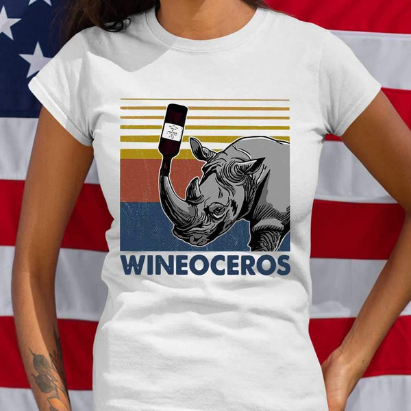 Wineoceros Wine Rhino Vintage T-shirt S By AllezyShirt