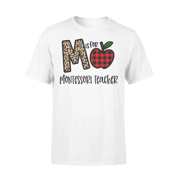 M Is For Montessori Teacher Apple Buffalo Plaid T-shirt L By AllezyShirt