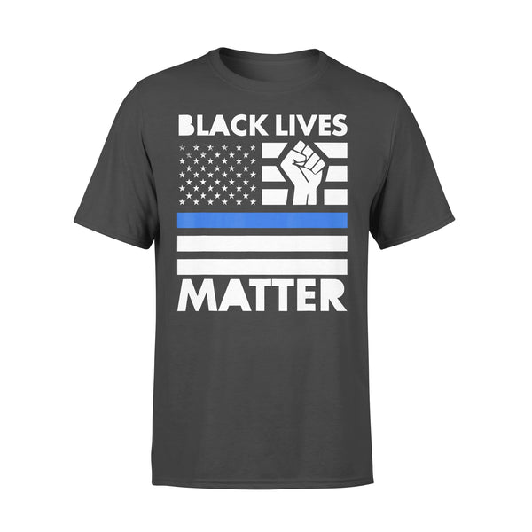 Black Lives Matters Blue Thin Line American Flag T-shirt L By AllezyShirt