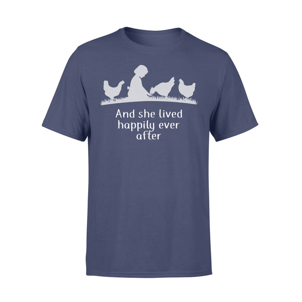 Farmer Girl With Chickens And She Lived Happily Ever After T-shirt XL By AllezyShirt