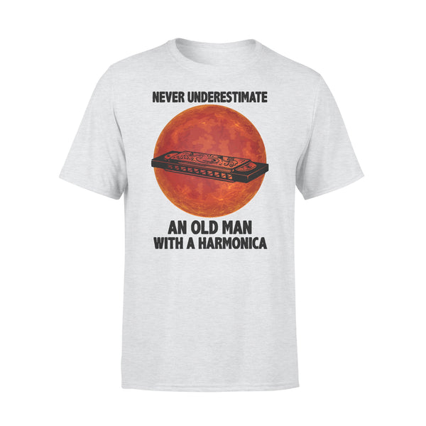 Never Underestimate An Old Man With A Harmonica Blood Moon T-shirt XL By AllezyShirt