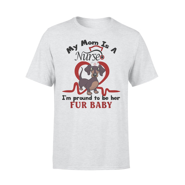 Dachshund My Mom Is A Nurse I'm Proud To Be Her Fur Baby Heartbeat Shirt XL By AllezyShirt