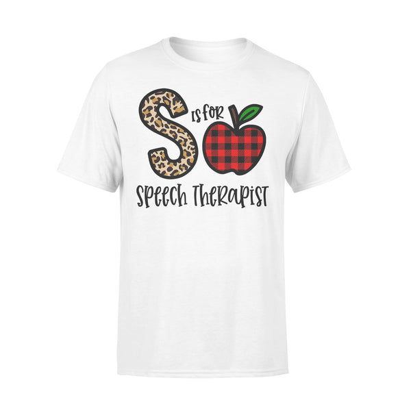 S Is For Speech Therapist Apple Buffalo Plaid T-shirt L By AllezyShirt