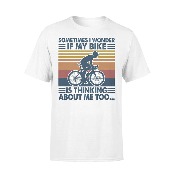 Sometimes I Wonder If My Bike Is Thinking About Me Too Bicycle Vintage Retro T-shirt L By AllezyShirt
