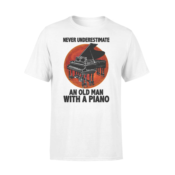 Never Underestimate An Old Man With A Piano Blood Moon T-shirt L By AllezyShirt