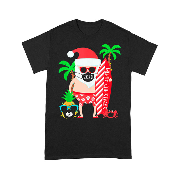 Christmas Surfing Santa With Mask T-shirt L By AllezyShirt