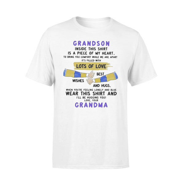 Grandson Inside This Is A Piece Of My Heart Lots Of Loves Wishes Best And Hugs Wear This And Grandma T-shirt L By AllezyShirt