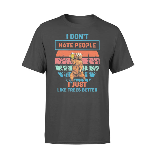 I Don't Hate People I Just Like Trees Better Bear Beer Vintage Retro T-shirt L By AllezyShirt