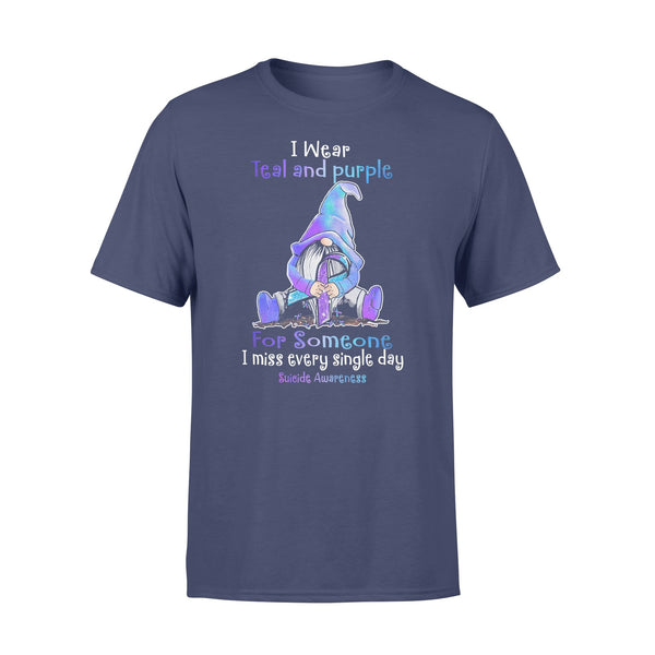 Gnome I Wear Teal And Purple For Someone I Miss Every Single Day Suicide Awareness Shirt XL By AllezyShirt