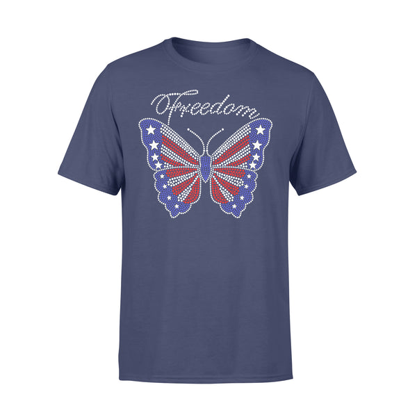 Butterfly Freedom 4Th Of July Usa Flag Glitter T-shirt XL By AllezyShirt