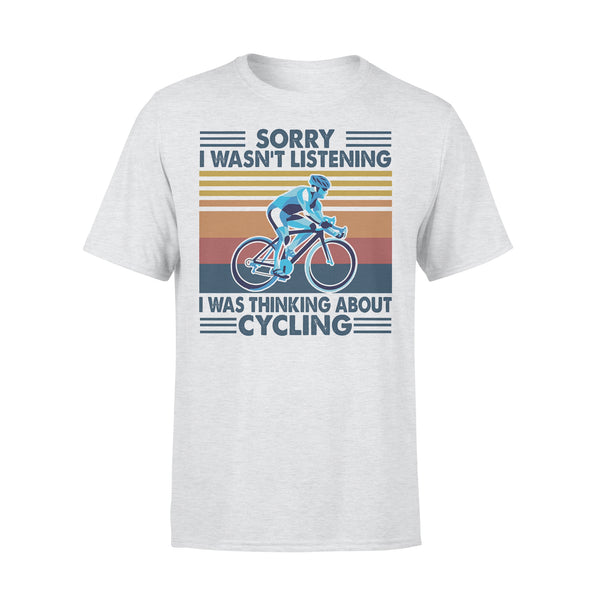 Bicycle Sorry I Wasn't Listening I Was Thinking About Cycling Vintage Retro T-shirt XL By AllezyShirt