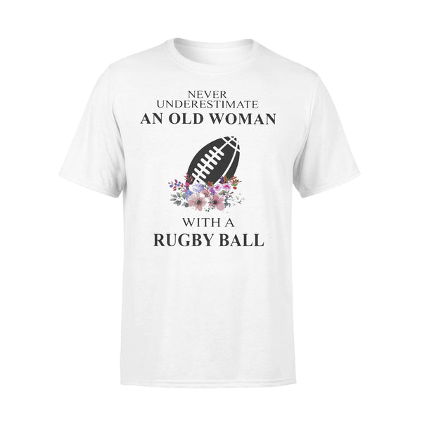 Never Underestimate An Old Woman With A Rugby Ball Flowers T-shirt L By AllezyShirt