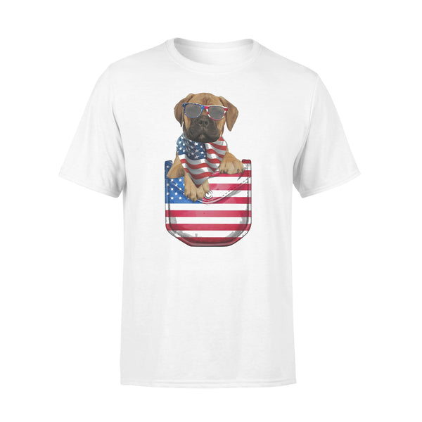 Bullmastiff Pocket American Flag Independence Day T-shirt L By AllezyShirt