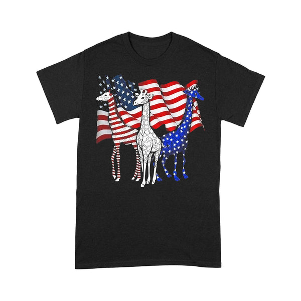 Three Giraffes American Flag T-shirt S By AllezyShirt