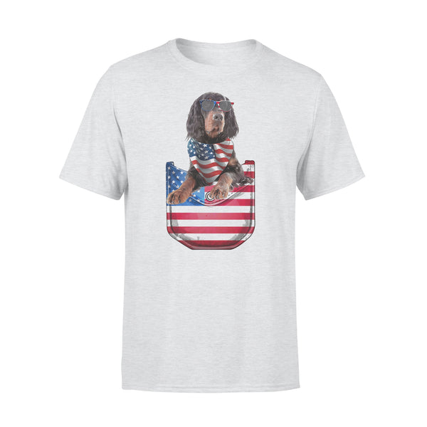 Gordon Setter Pocket American Flag Independence Day T-shirt XL By AllezyShirt