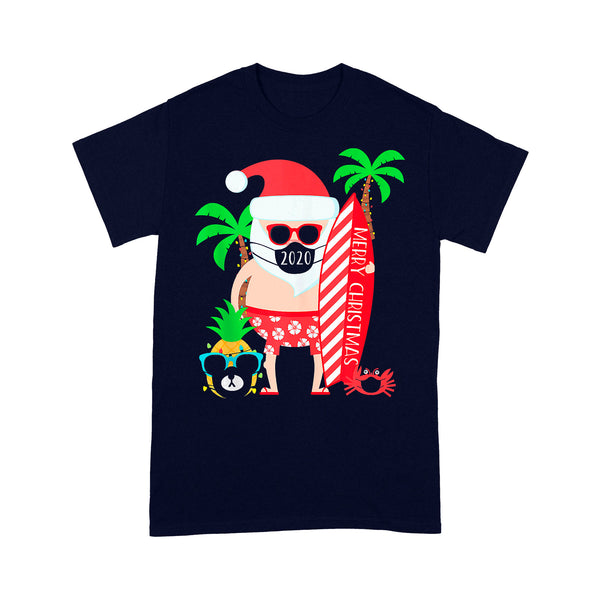 Christmas Surfing Santa With Mask T-shirt XL By AllezyShirt