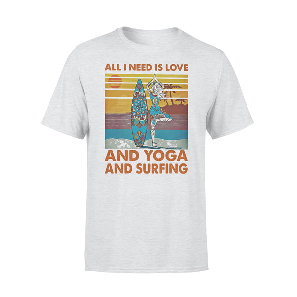 All I Need Is Love And Yoga And Surfing Vintage Retro T-shirt XL By AllezyShirt