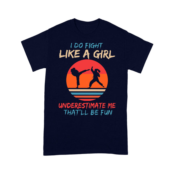 I Do Fight Like A Girl Underestimate Me That'll Be Fun Karate Vintage T-shirt M By AllezyShirt