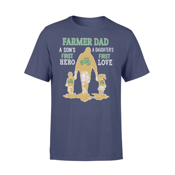 Farmer Tractor Dad A Son's First Hero A Daughter's First Love Dad Happy Father's Day T-shirt XL By AllezyShirt