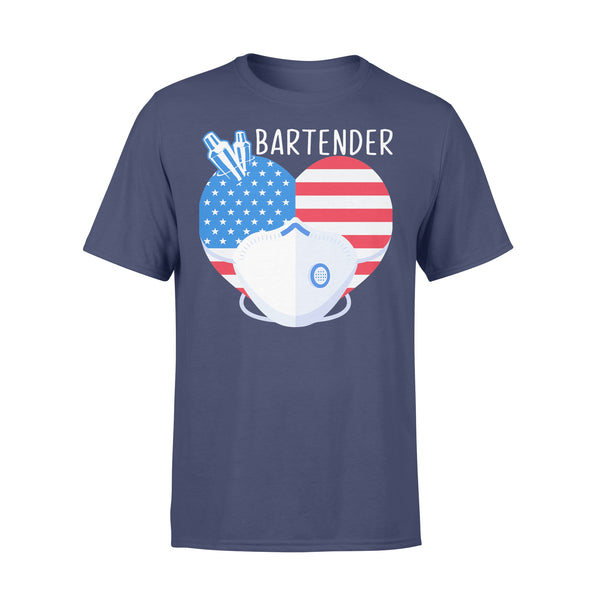 Love Bartender Heart American Flag Covid-19 XL By AllezyShirt