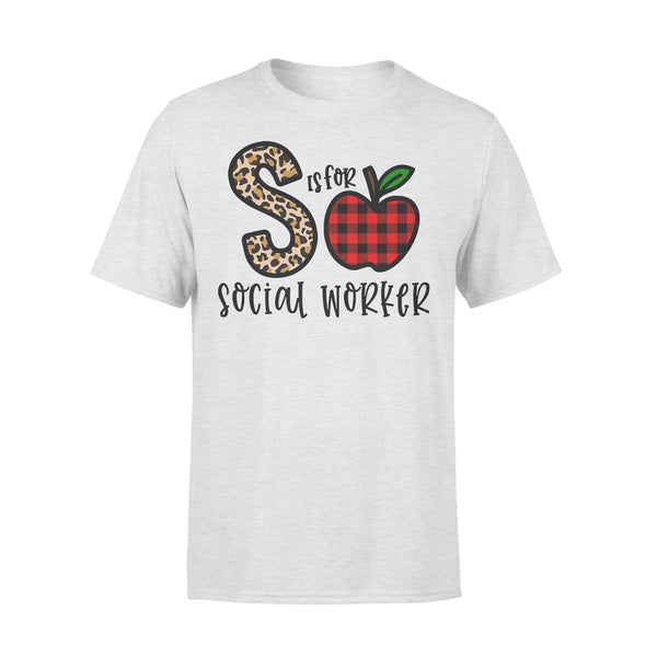 S Is For Social Worker Apple Buffalo Plaid T-shirt XL By AllezyShirt