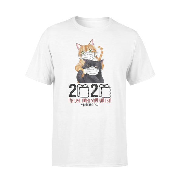 Cat 2020 The Year When Shit Got Real Quarantined T-Shirt L By AllezyShirt
