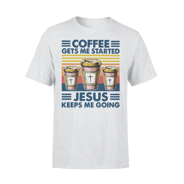 Coffee Gets Me Started Jesus Keeps Me Going Vintage T-shirt XL By AllezyShirt
