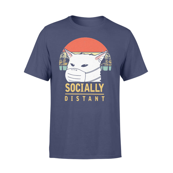 Cat Socially Distant Vintage Covid-19 T-shirt XL By AllezyShirt