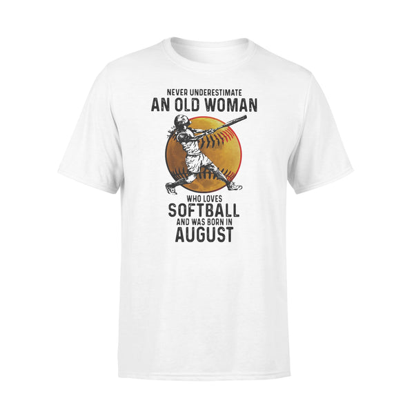 Never Underestimate An Old Woman Who Loves Softball And Was Born In August Blood Moon T-shirt L By AllezyShirt