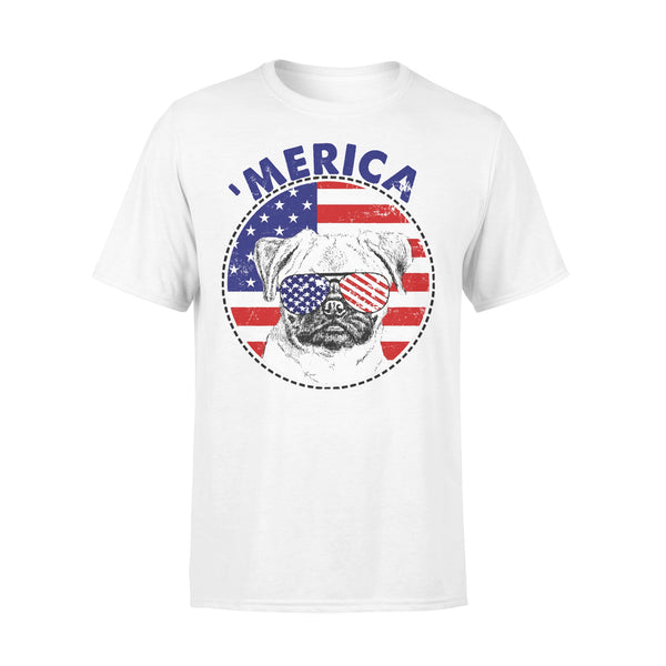Pug 'Merica Flag Sunglasses Vintage 4th of July USA T-shirt L By AllezyShirt