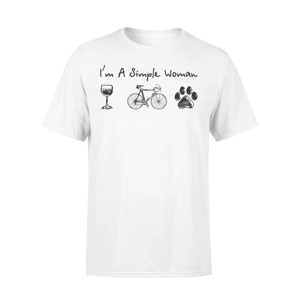 I'm A Simple Woman Wine Bicycle Dog Paw T-shirt L By AllezyShirt