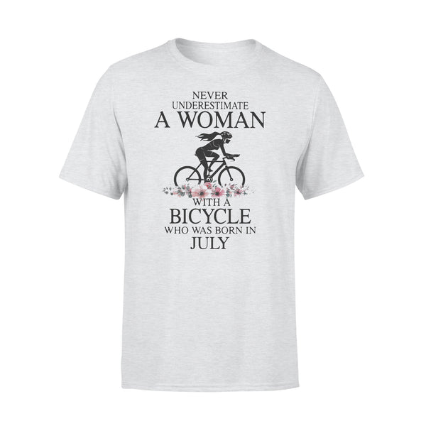 Never Underestimate A Woman With A Bicycle Who Was Born In July Flowers T-shirt XL By AllezyShirt