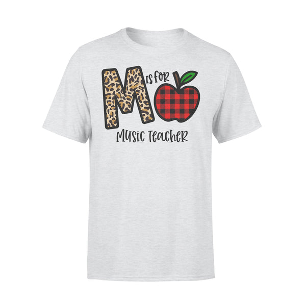 M Is For Music Teacher Apple Buffalo Plaid T-shirt XL By AllezyShirt
