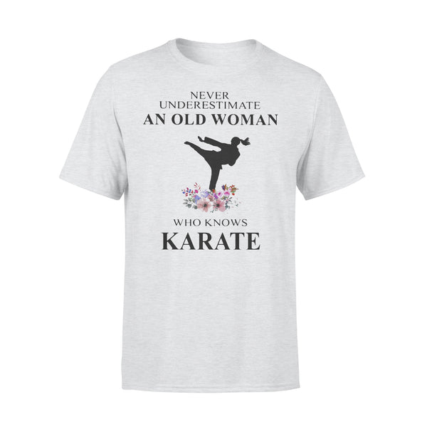 Never Underestimate An Old Woman Who Knows Karate Flowers T-shirt XL By AllezyShirt