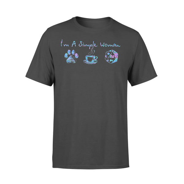 I'm A Simple Woman I Love Dog Paw Coffee DnD Colorful T-shirt L By AllezyShirt