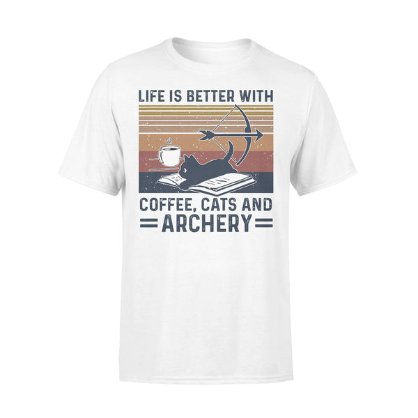 Life Is Better With Coffee Cats And Archery Vintage Retro T-shirt L By AllezyShirt