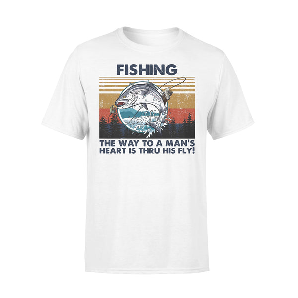 Fishing The Way To A Man's Heart Is Thru His Fly Vintage Retro T-shirt L By AllezyShirt