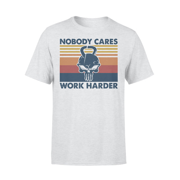 Skull Weightlifting Nobody Cares Work Harder Vintage Retro T-shirt XL By AllezyShirt