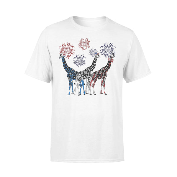 Independence Day Giraffes Wear Bow Tie Firework T-shirt L By AllezyShirt